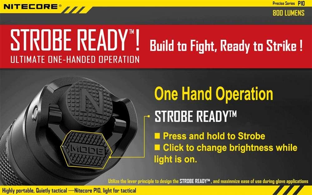 Nitecore P10 Strobe Ready Tactical LED Flashlight -800 Lumen