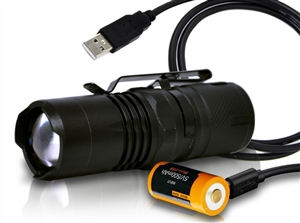 Orion Zoom 1 300 Lumen Focusable Tactical Flashlight w/ USB Rechargeable 16340 Battery and Charging Cable