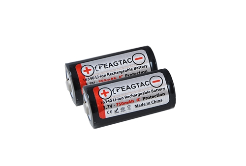 Eagletac 16340/RCR123A Li-Ion 3.7V Protected Rechargeable Battery