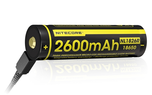 NITECORE NL1826R Protected Button-Top 2600mAh USB-Rechargeable 18650 Battery