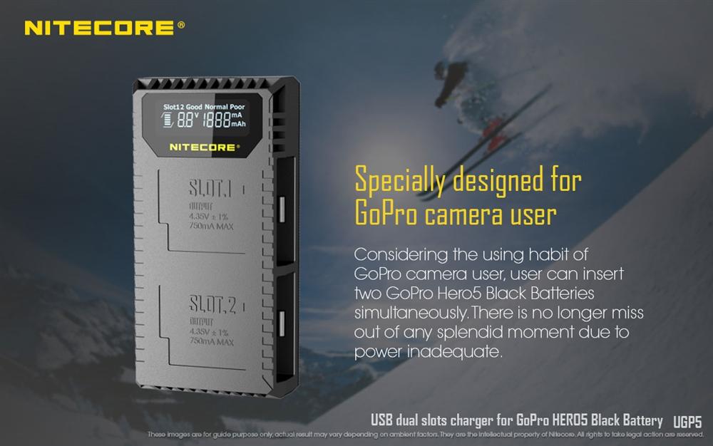 Nitecore UGP5 Dual Slot Digital USB Charger for GoPro Hero5 Black Battery w// LCD
