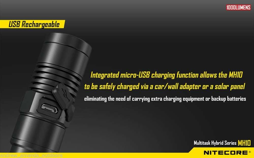 Nitecore MH10 1000 Lumens Compact USB Rechargeable LED Flashlight w// Battery