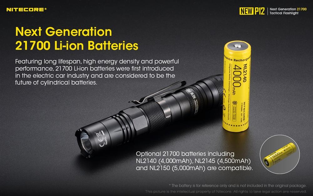 NL2150 Battery NiteCore NEW P12 LED 1200 Lumens Tactical Flashlight Torch