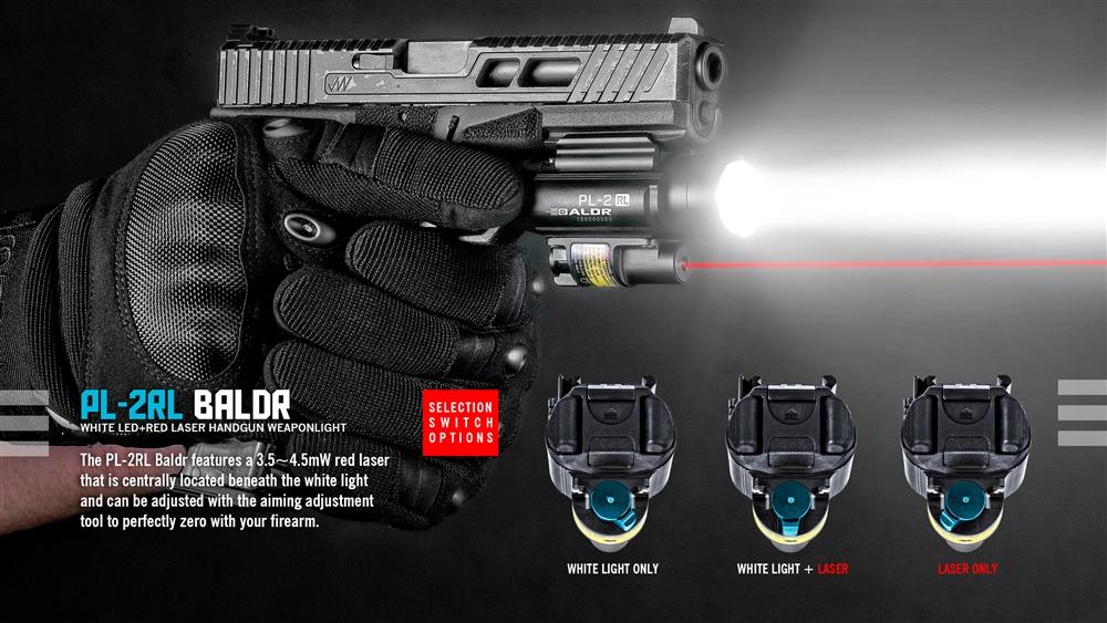 Olight PL-2RL Baldr Ultra High Output Weapon Light 1200 Lumens w//2 CR123A