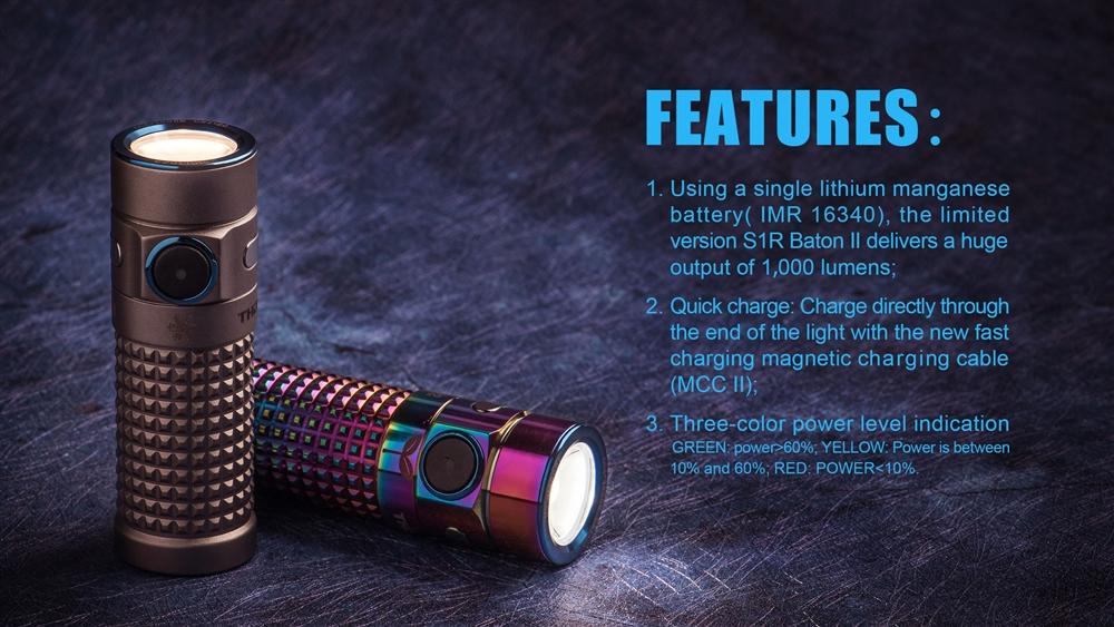 Olight S1R Baton II 1000 Lumen Limited Titanium Edition Rechargeable  Flashlight