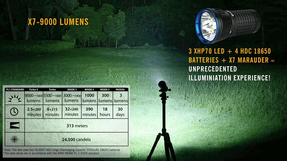 Olight X7 Marauder 9000 Lumen Led Flashlight And Charger Kit